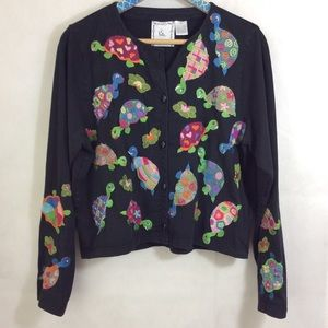 Vintage Micheal Simon Lite Turtle Embroidered Top